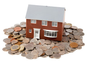 house and coins